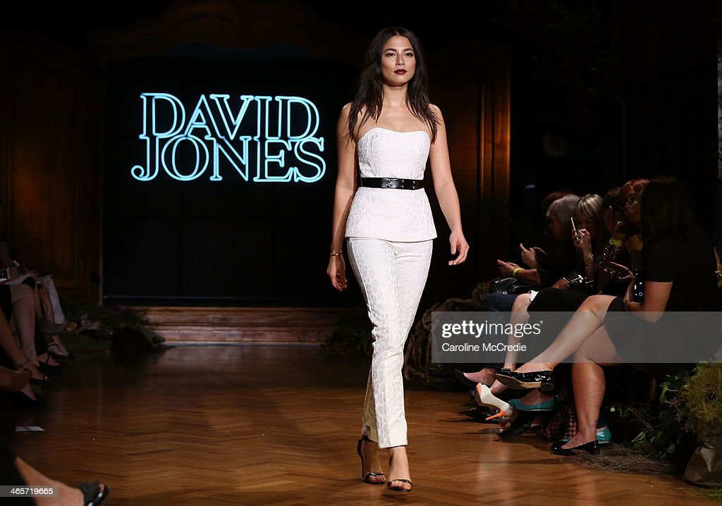 Model <a gi-track='captionPersonalityLinkClicked' href=/galleries/search?phrase=Jessica+Gomes&family=editorial&specificpeople=4319063 ng-click='$event.stopPropagation()'>Jessica Gomes</a> showcases designs by Camilla and Marc during rehearsal for the David Jones A/W 2014 Collection Launch at the David Jones Elizabeth Street Store on January 29, 2014 in Sydney, Australia.
