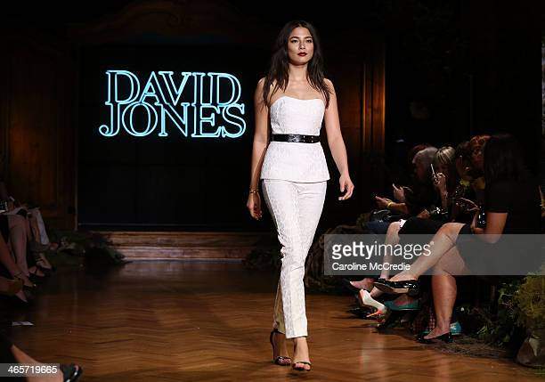 Model Jessica Gomes showcases designs by Camilla and Marc during rehearsal for the David Jones A/W 2014 Collection Launch at the David Jones...