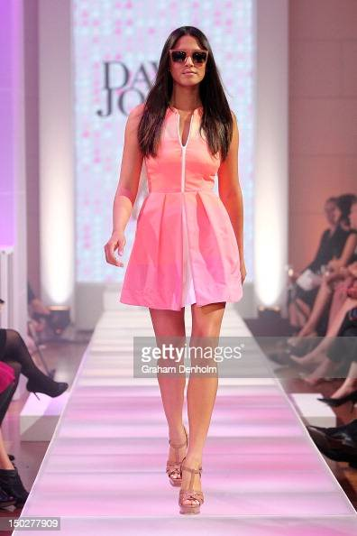 Model Jessica Gomes showcases designs by Camilla and Marc during the David Jones S/S 2012/13 Season Launch at David Jones Castlereagh Street on...