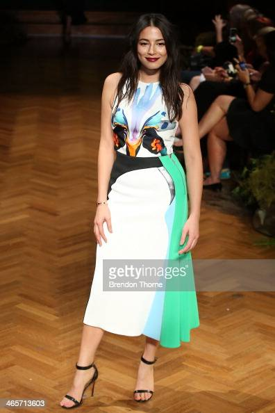 Model Jessica Gomes showcases designs by Carl Kapp during rehearsal for the David Jones A/W 2014 Collection Launch at the David Jones Elizabeth...