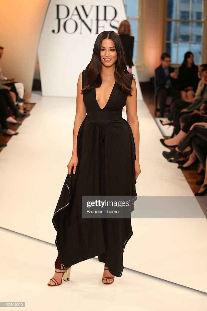 Model <a gi-track='captionPersonalityLinkClicked' href=/galleries/search?phrase=Jessica+Gomes&family=editorial&specificpeople=4319063 ng-click='$event.stopPropagation()'>Jessica Gomes</a> showcases designs by Ellery during a rehearsal ahead of the David Jones Spring/Summer 2014 Collection Launch at David Jones Elizabeth Street Store on July 30, 2014 in Sydney, Australia.