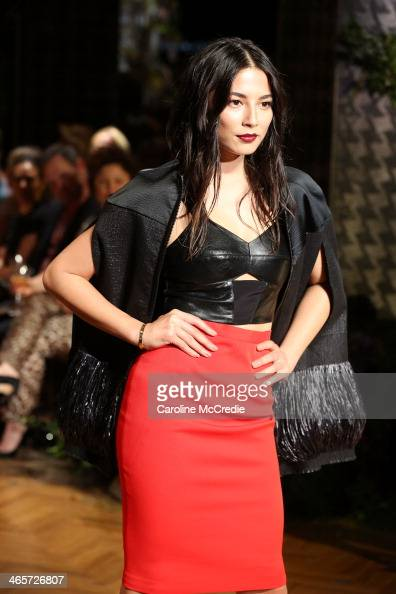 Model Jessica Gomes showcases designs by Ginger Smart at the David Jones A/W 2014 Collection Launch at the David Jones Elizabeth Street Store on...