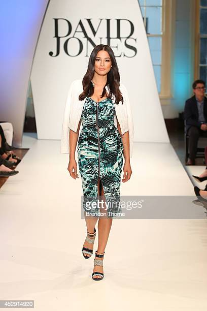 Model Jessica Gomes showcases designs by Ginger Smart during a rehearsal ahead of the David Jones Spring/Summer 2014 Collection Launch at David Jones...