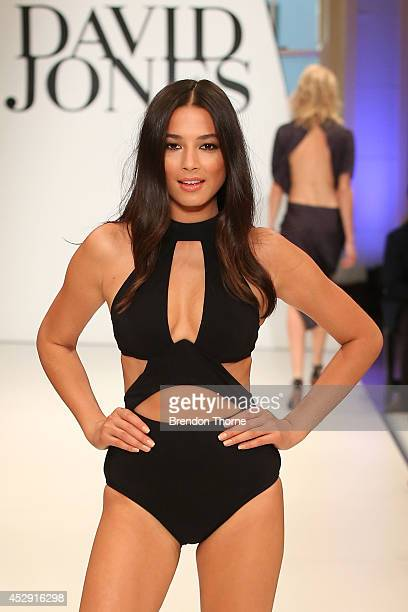 Model Jessica Gomes showcases designs by Jets during a rehearsal ahead of the David Jones Spring/Summer 2014 Collection Launch at David Jones...