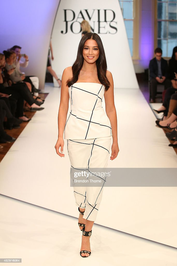 Model Jessica Gomes showcases designs by Josh Goot during a rehearsal ahead of the David Jones Spring/Summer 2014 Collection Launch at David Jones...