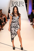 Model Jessica Gomes showcases designs by Zimmerman at the David Jones Spring/Summer 2014 Collection Launch at David Jones Elizabeth Street Store on...