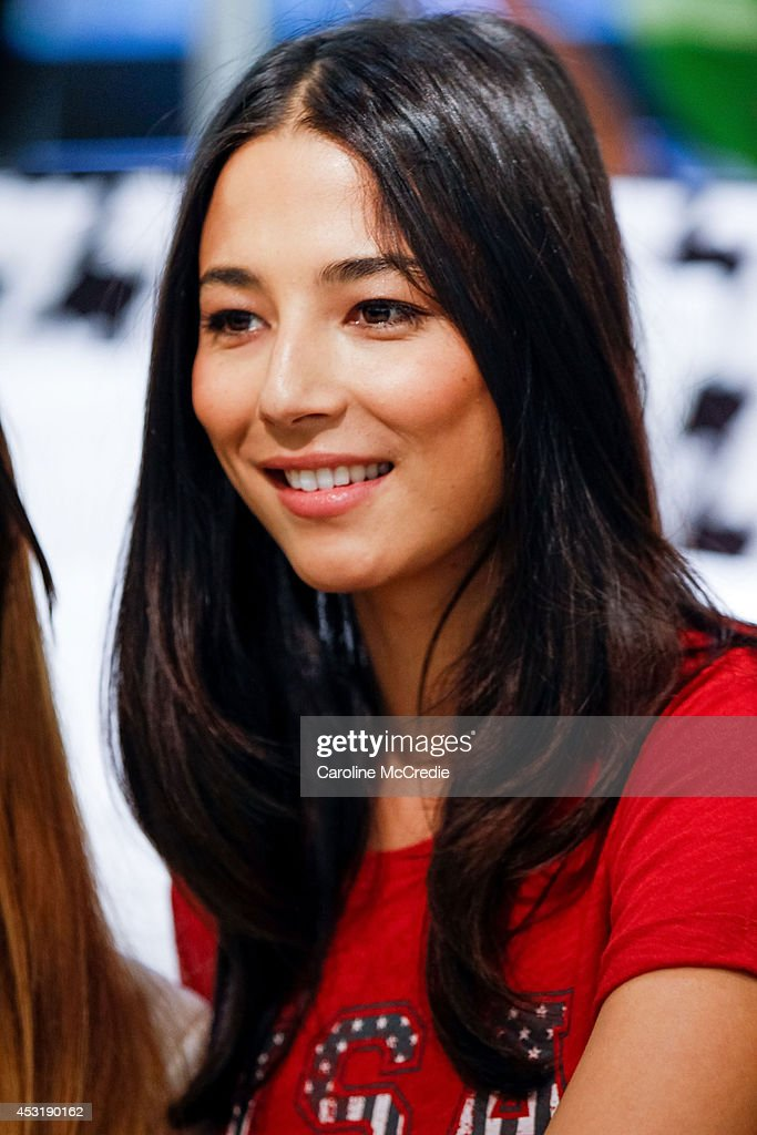 Model <a gi-track='captionPersonalityLinkClicked' href=/galleries/search?phrase=Jessica+Gomes&family=editorial&specificpeople=4319063 ng-click='$event.stopPropagation()'>Jessica Gomes</a> smiles at a meet and greet at David Jones Elizabeth Street Store on August 5, 2014 in Sydney, Australia.