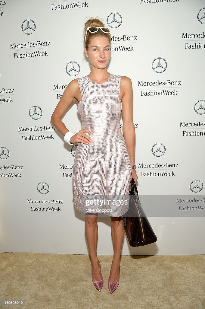 Model <a gi-track='captionPersonalityLinkClicked' href=/galleries/search?phrase=Jessica+Hart&family=editorial&specificpeople=4436555 ng-click='$event.stopPropagation()'>Jessica Hart</a> attends the Mercedes-Benz Star Lounge during Mercedes-Benz Fashion Week Spring 2014 on September 11, 2013 in New York City.