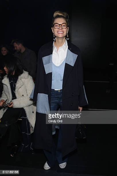 Model Jessica Hart attends the Tome Fall 2016 fashion show during New York Fashion Week The Shows at The Dock Skylight at Moynihan Station on...