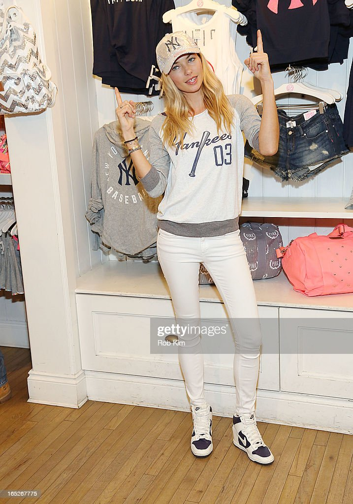 Model Jessica Hart celebrates opening day and the new MLB Pink Collection at Victoria's Secret PINK, Soho on April 2, 2013 in New York City.