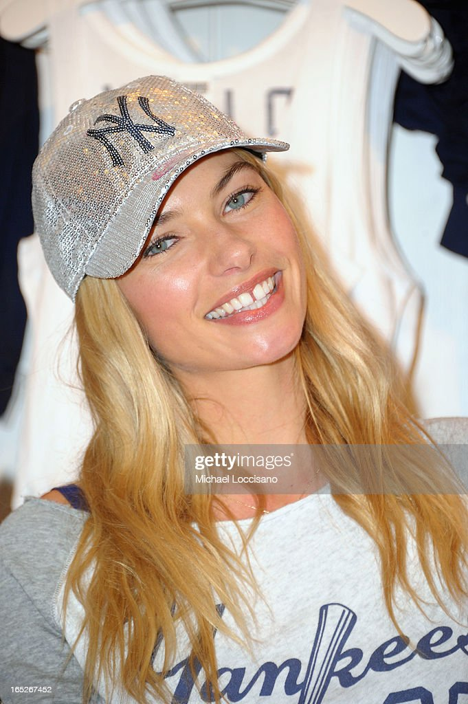 Model Jessica Hart celebrates the launch of the Victoria's Secret PINK MLB Collection at Victoria Secret Soho on April 2, 2013 in New York City.