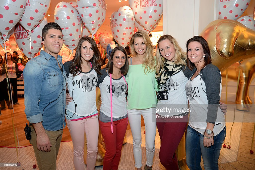 Model <a gi-track='captionPersonalityLinkClicked' href=/galleries/search?phrase=Jessica+Hart&family=editorial&specificpeople=4436555 ng-click='$event.stopPropagation()'>Jessica Hart</a> celebrates the opening of the new Victoria's Secret PINK Store at Woodfield Mall on November 17, 2012 in Chicago, Illinois.