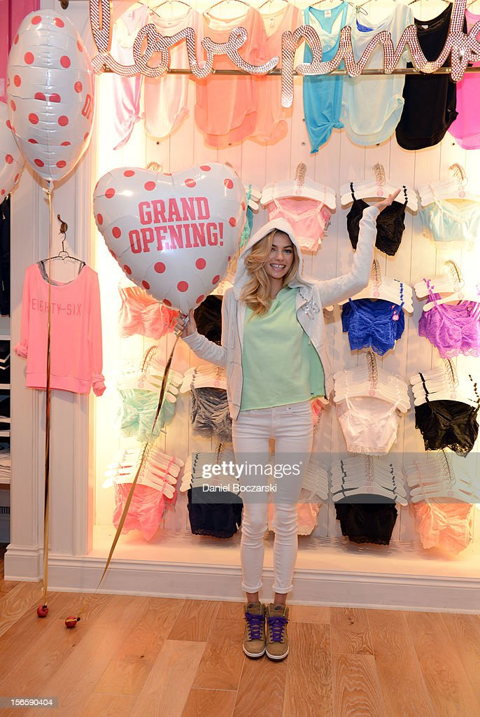 Model Jessica Hart celebrates the opening of the new Victoria's Secret PINK Store at Woodfield Mall on November 17, 2012 in Chicago, Illinois.