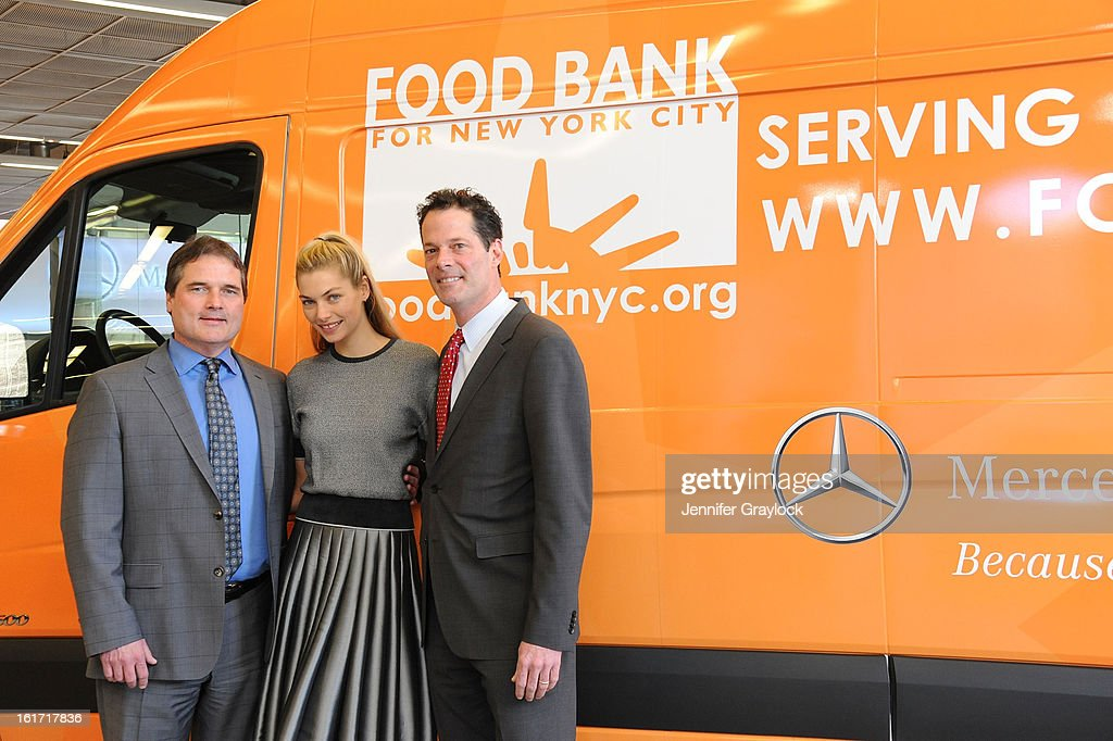 Model <a gi-track='captionPersonalityLinkClicked' href=/galleries/search?phrase=Jessica+Hart&family=editorial&specificpeople=4436555 ng-click='$event.stopPropagation()'>Jessica Hart</a>, General Sales Manager Mercedes-Benz Manhattan Tom Shanley and General Manager Mercedes-Benz Manhattan Blair Creed unveils the Food Bank For New York City's Sprinter Van Donated By Mercedes-Benz Manhattan at the Mercedes-Benz 11th avenue on February 14, 2013 in New York City.