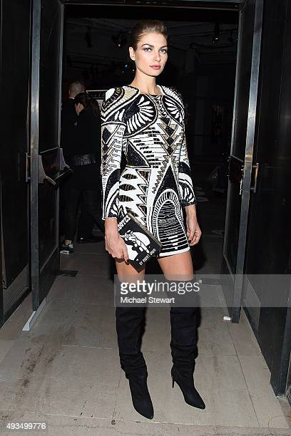 Model Jessica Hart seen outside of the BALMAIN X HM Collection launch event at 23 Wall Street on October 20 2015 in New York City