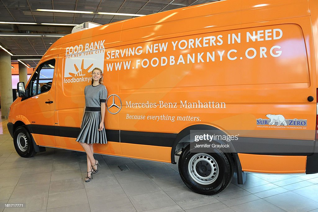 Model <a gi-track='captionPersonalityLinkClicked' href=/galleries/search?phrase=Jessica+Hart&family=editorial&specificpeople=4436555 ng-click='$event.stopPropagation()'>Jessica Hart</a> unveils the Food Bank For New York City's Sprinter Van Donated By Mercedes-Benz Manhattan at the Mercedes-Benz 11th avenue on February 14, 2013 in New York City.
