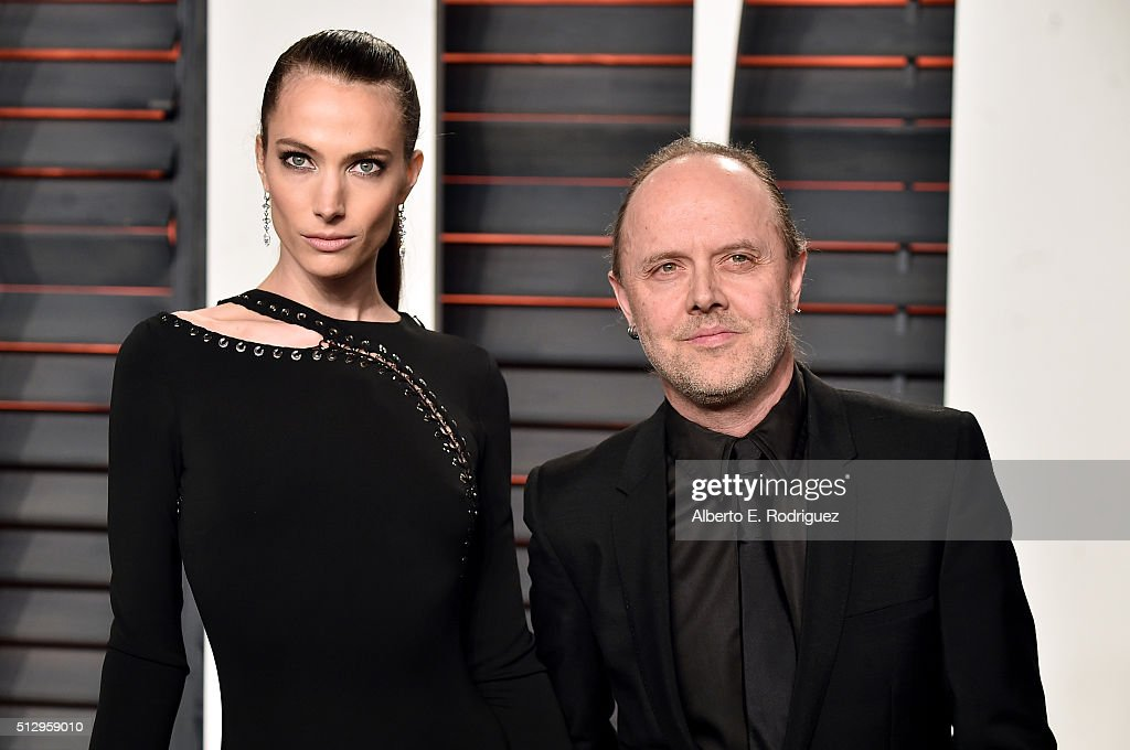 Model Jessica Miller and recording artist Lars Ulrich attend the 2016 Vanity Fair Oscar Party hosted By Graydon Carter at Wallis Annenberg Center for...