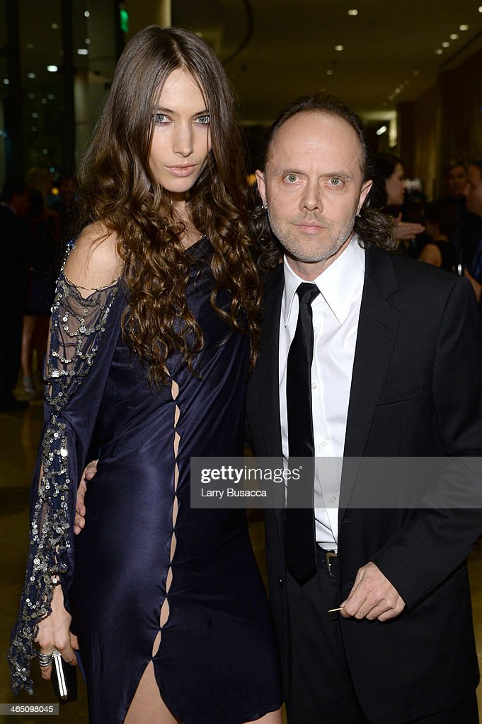 Model Jessica Miller (L) and recording artist Lars Ulrich of Metallica attend the 56th annual GRAMMY Awards Pre-GRAMMY Gala and Salute to Industry Icons honoring Lucian Grainge at The Beverly Hilton on January 25, 2014 in Beverly Hills, California.