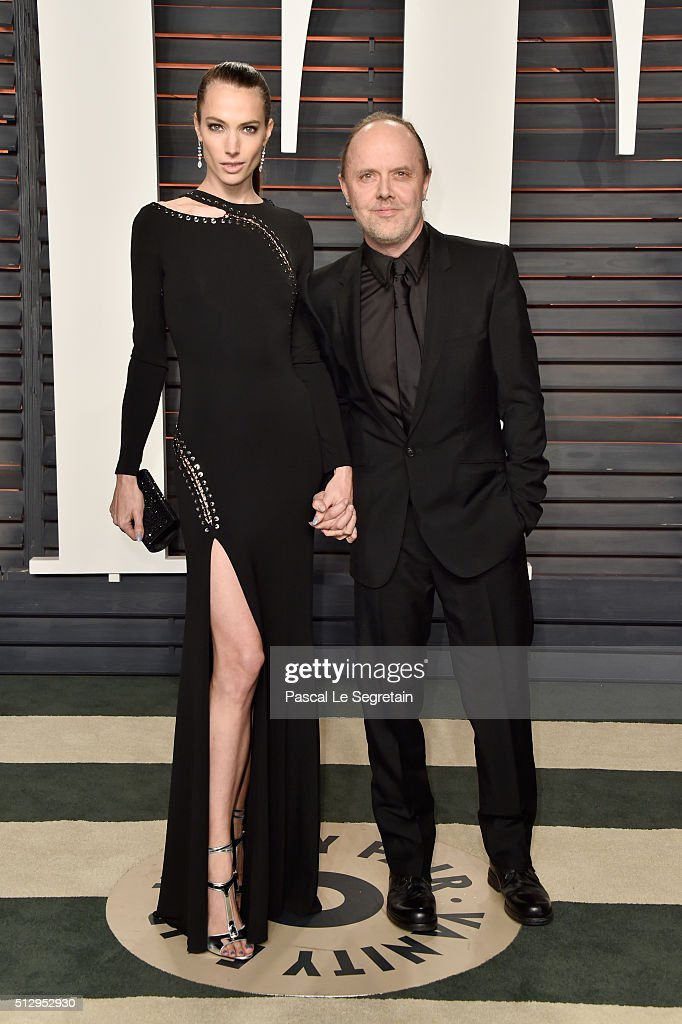 Model Jessica Miller and recording artist Lars Ulrich of music group Metallica attend the 2016 Vanity Fair Oscar Party Hosted By Graydon Carter at...