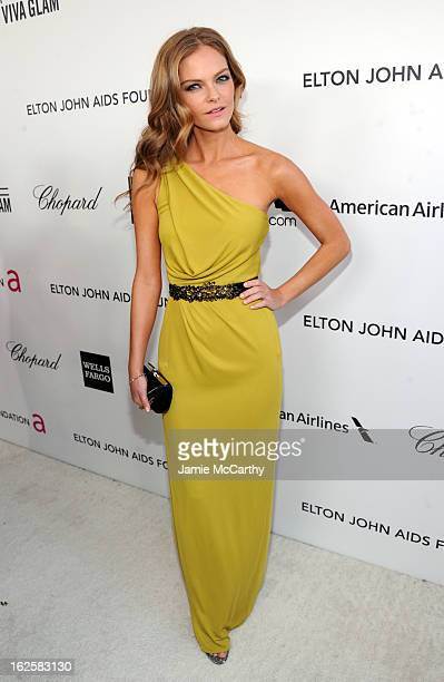 Model Jessica Perez attends the 21st Annual Elton John AIDS Foundation Academy Awards Viewing Party at West Hollywood Park on February 24 2013 in...