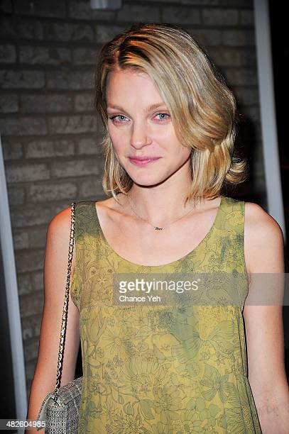 Model Jessica Stam attends a special viewing of 'Kurt Cobain By Photographer Jesse Frohman' exhibit at The Gallery at The Dream Downtown Hotel on...