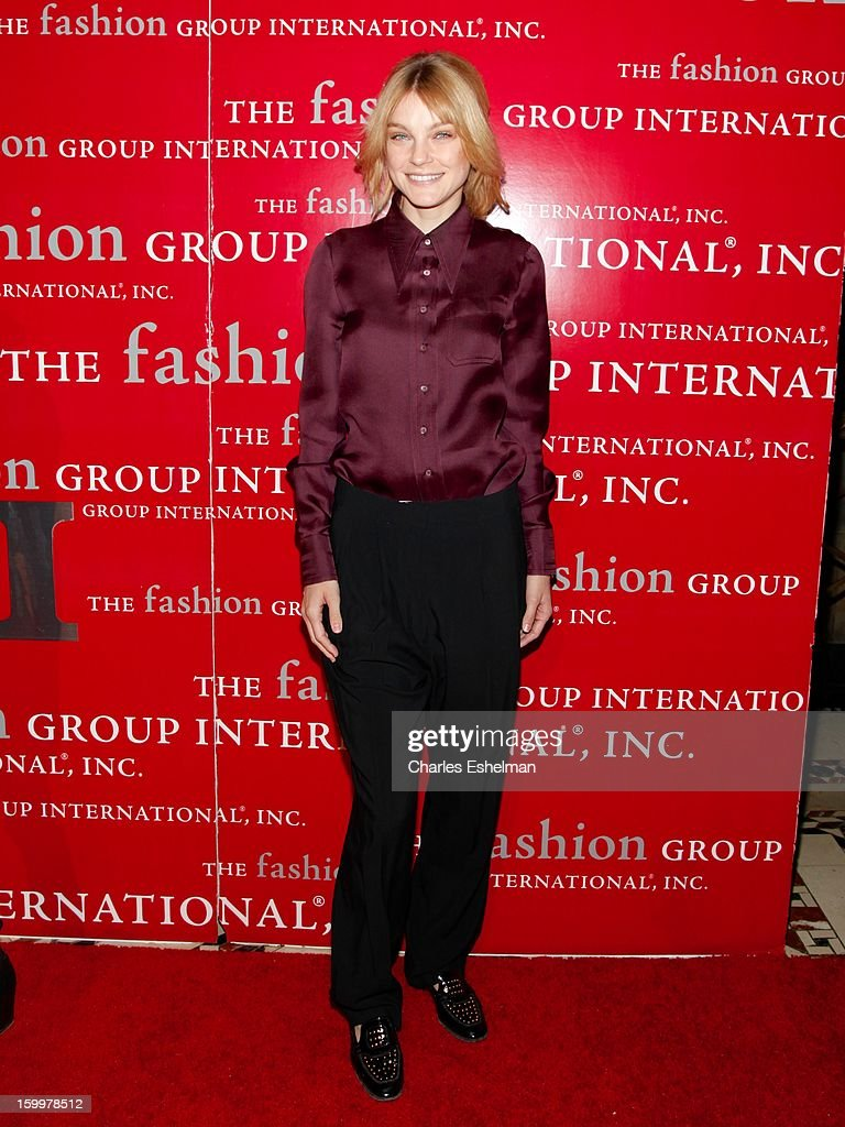 Model Jessica Stam attends the 16th annual Fashion Group International Rising Star awards at Cipriani 42nd Street on January 24, 2013 in New York City.