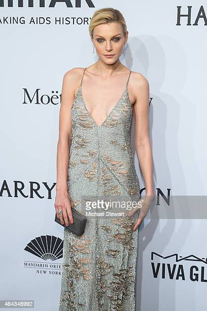 Model Jessica Stam attends the 2015 amfAR New York Gala at Cipriani Wall Street on February 11 2015 in New York City