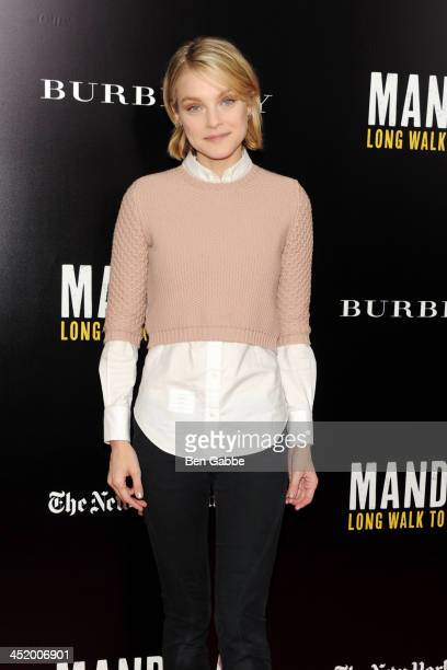 Model Jessica Stam attends the screening of 'Mandela Long Walk to Freedom' hosted by U2 Anna Wintour and Bob Harvey Weinstein with Burberry at the...