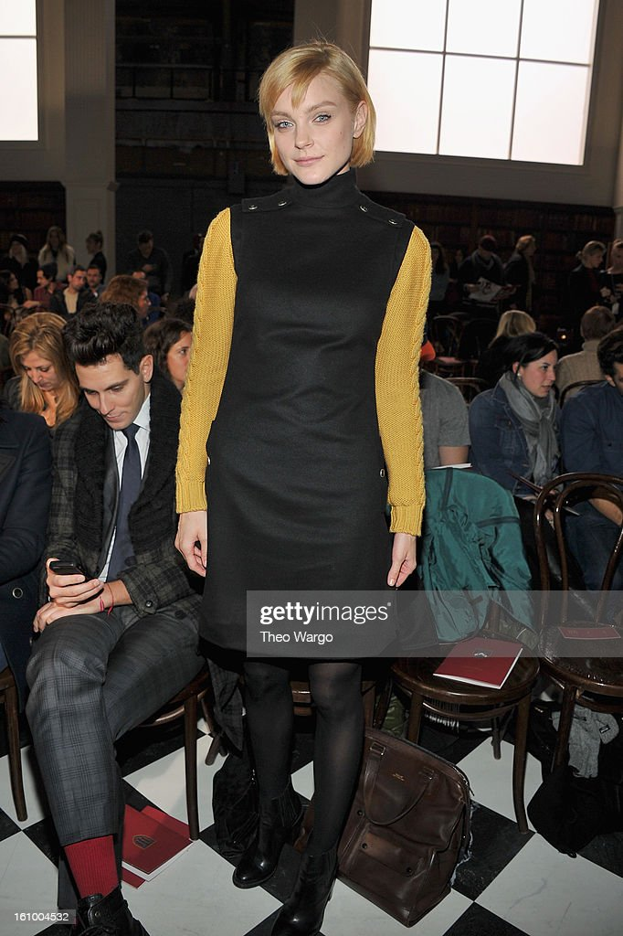 Model Jessica Stam attends the Tommy Hilfiger Fall 2013 Men's Collection fashion show during Mercedes-Benz Fashion Week at Park Avenue Armory on February 8, 2013 in New York City.