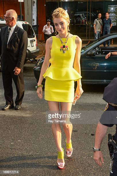 Model Jessica Stam enters the 2013 CFDA Fashion Awards on June 3 2013 in New York United States
