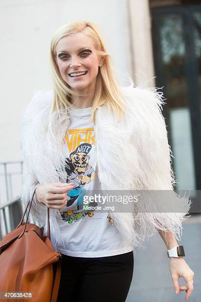 Model Jessica Stam exits the Rochas show at Palais de Tokyo in a Balmain jacket and Apple Watch on Day 2 of Paris Fashion Week FW15 March 4 2015 in...