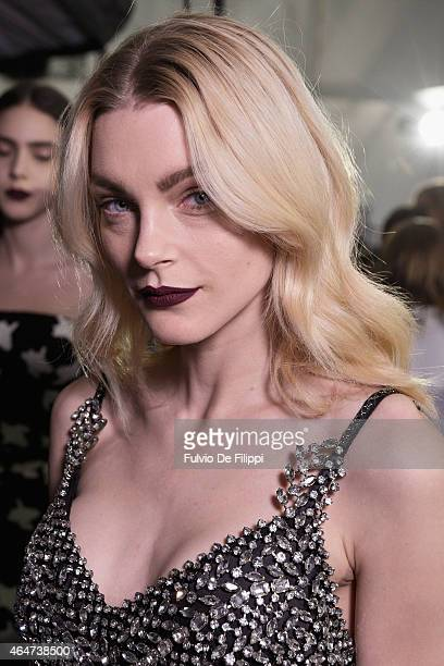 Model Jessica Stam is seen backstage ahead of the Ermanno Scervino show during the Milan Fashion Week Autumn/Winter 2015 on February 28 2015 in Milan...