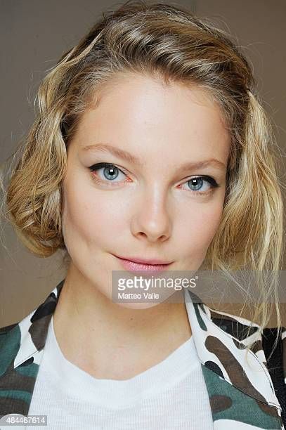 Model Jessica Stam poses backstage ahead of the Max Mara show during the Milan Fashion Week Autumn/Winter 2015 on February 26 2015 in Milan Italy
