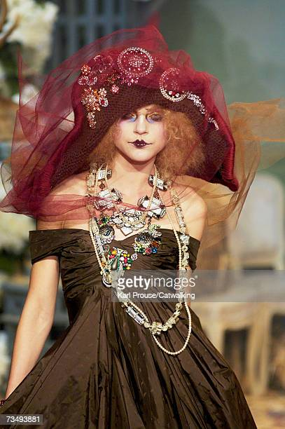 Model Jessica Stam walks the catwalk during the John Galliano fashion show as part of Paris Fashion Week Autumn/Winter 2008 on March 3 2007 in Paris...