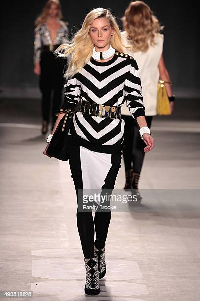 Model Jessica Stam walks the runway at the BALMAIN X HM Collection Launch at 23 Wall Street on October 20 2015 in New York City
