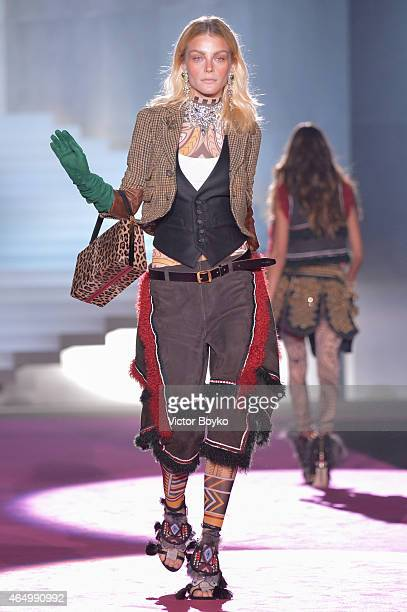 Model Jessica Stam walks the runway at the Dsquared2 show during the Milan Fashion Week Autumn/Winter 2015 on March 2 2015 in Milan Italy
