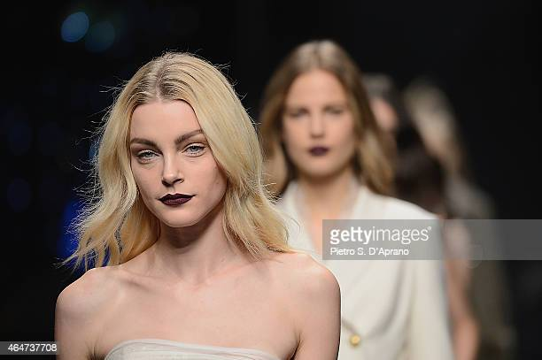 Model Jessica stam walks the runway at the Ermanno Scervino show during the Milan Fashion Week Autumn/Winter 2015 on February 28 2015 in Milan Italy