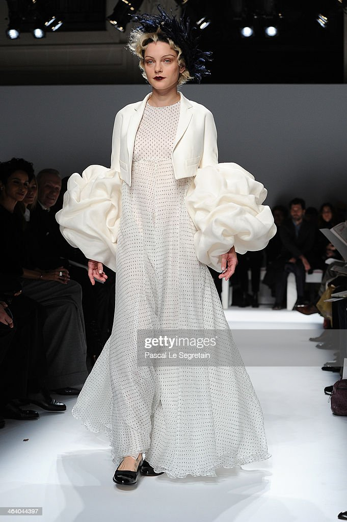 Model <a gi-track='captionPersonalityLinkClicked' href=/galleries/search?phrase=Jessica+Stam&family=editorial&specificpeople=657570 ng-click='$event.stopPropagation()'>Jessica Stam</a> walks the runway during the Schiaparelli show as part of Paris Fashion Week Haute Couture Spring/Summer 2014 on January 20, 2014 in Paris, France.