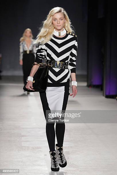 Model Jessica Stam walks the runway wearing BALMAIN X HM collection during the launch event at 23 Wall Street on October 20 2015 in New York City