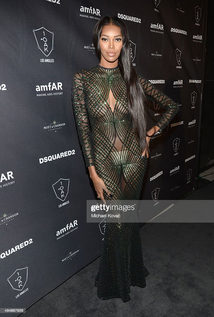 Model Jessica White attends DSQUARED2 And amfAR's Official After Party at 1OAK on October 29, 2015 in West Hollywood, California.