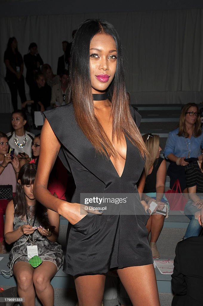 Model Jessica White attends the Tadashi Shoji Spring 2014 fashion show at The Stage Lincoln Center on September 5, 2013 in New York City.