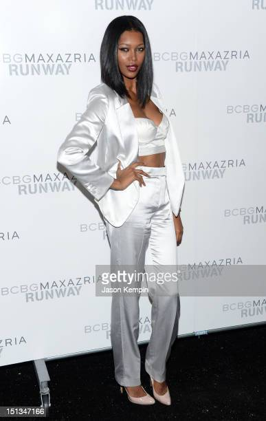 Model Jessica White poses backstage at the BCBGMAXAZRIA Spring 2013 fashion show during MercedesBenz Fashion Week at The Theatre at Lincoln Center on...