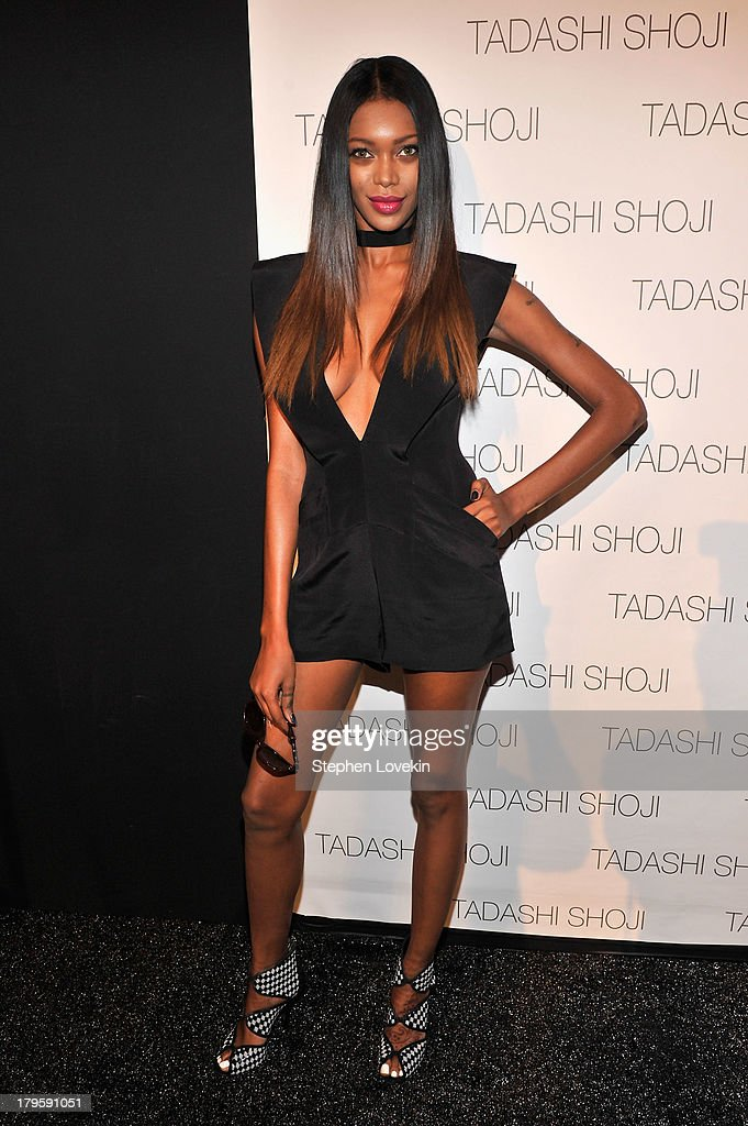 Model Jessica White prepares backstage at the Tadashi Shoji Spring 2014 fashion show during Mercedes-Benz Fashion Week at The Stage at Lincoln Center on September 5, 2013 in New York City.