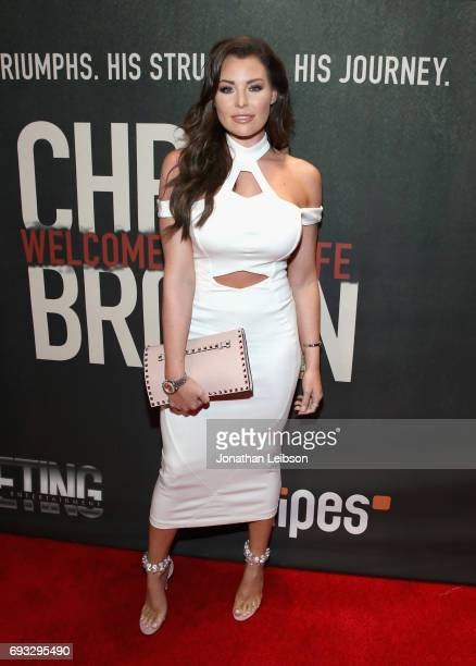 Model Jessica Wright attends the Premiere Of Riveting Entertainment's 'Chris Brown Welcome To My Life' at LA LIVE on June 6 2017 in Los Angeles...