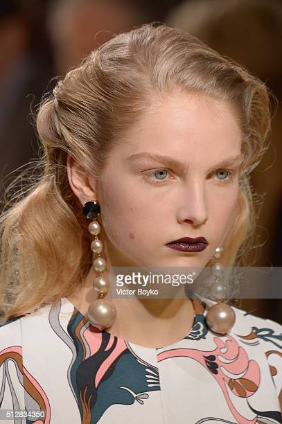 A model jewelry detail walks the runway at the Marni show during Milan Fashion Week Fall/Winter 2016/17 on February 28 2016 in Milan Italy
