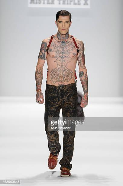 Model Jimmy Q walks the runway at the Art Hearts Fashion Presented By AIDS Healthcare Foundation fashion show during MercedesBenz Fashion Week Fall...