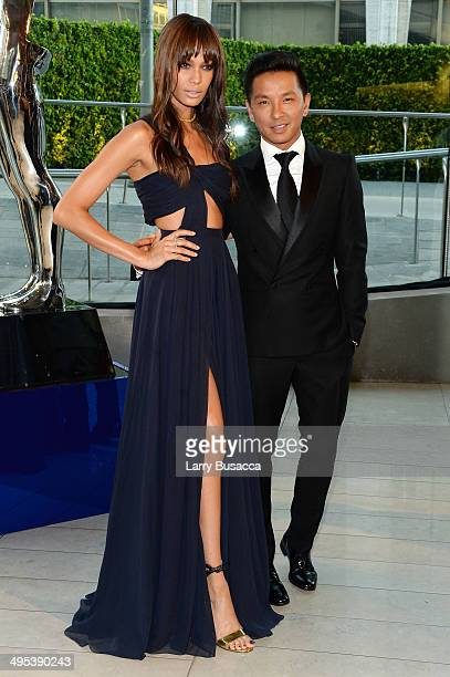 Model Joan Smalls and designer Prabal Gurung attend the 2014 CFDA fashion awards at Alice Tully Hall Lincoln Center on June 2 2014 in New York City