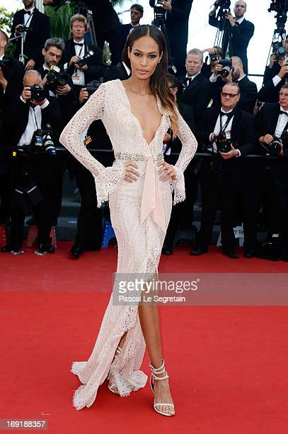 Model Joan Smalls attends the 'Cleopatra' premiere during The 66th Annual Cannes Film Festival at The 60th Anniversary Theatre on May 21 2013 in...