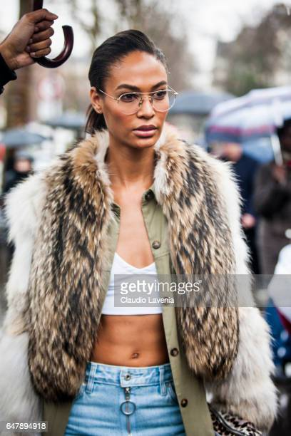Model Joan Smalls is seen in the streets of Paris after the Mugler show during Paris Fashion Week Womenswear Fall/Winter 2017/2018 on March 4 2017 in...