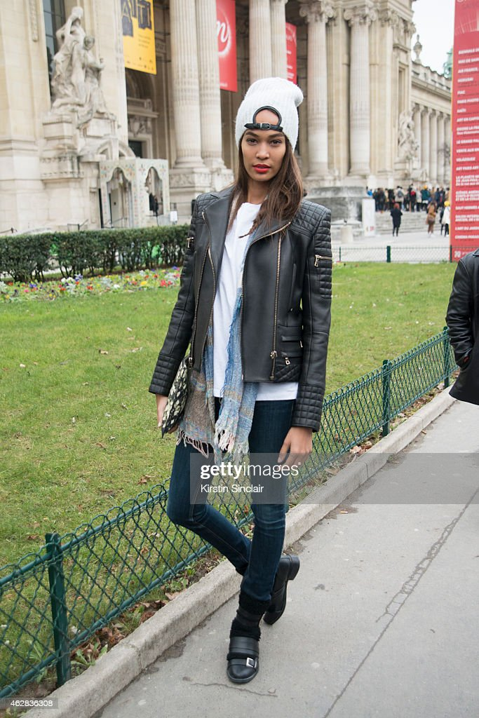 Model <a gi-track='captionPersonalityLinkClicked' href=/galleries/search?phrase=Joan+Smalls&family=editorial&specificpeople=5714628 ng-click='$event.stopPropagation()'>Joan Smalls</a> on day 3 of Paris Haute Couture Fashion Week Spring/Summer 2015, on January 27, 2015 in Paris, France.